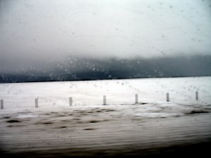 Despite the pleasant weather when we left, in Idaho we hit a hailstorm that forced us to slow down to about 25mph. A lot of cars just gave up and pulled over to wait it out. Isn't this a nice through-the-window picture?