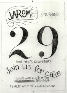 Bad scan of the sketch for Jarom's birthday invitations. Needs a little work.