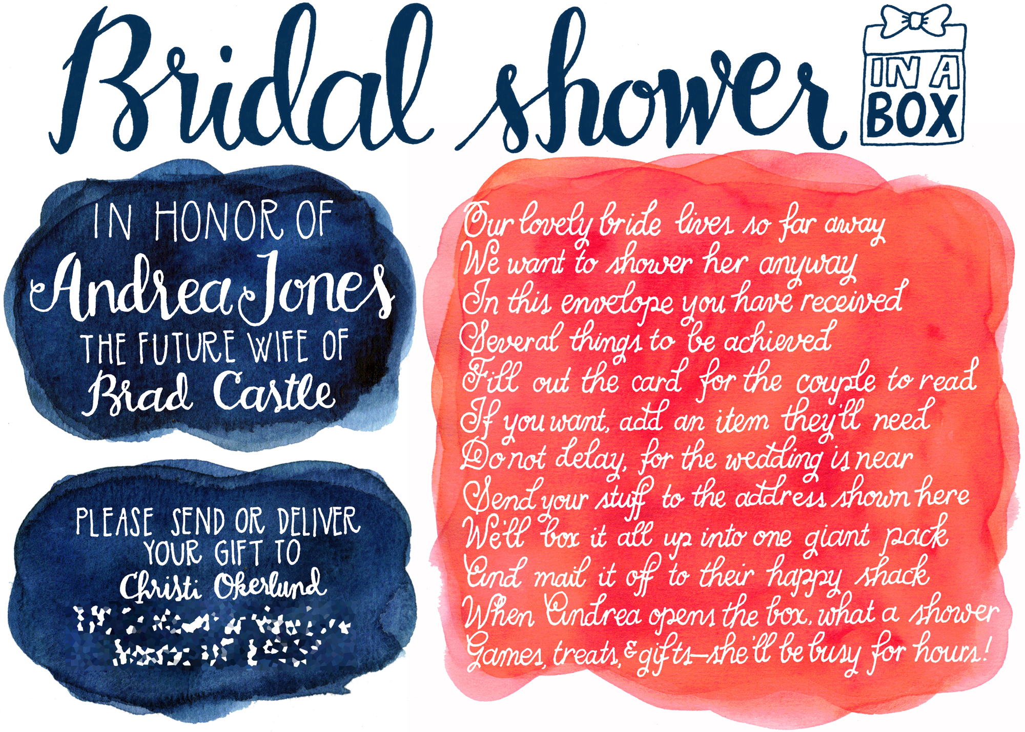 Bridal Shower Gift For My Best Friend : Baby shower invitation for my friend Jesi. This was a redo, as I was ...