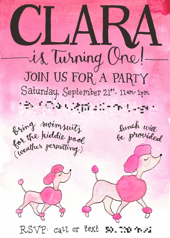 My friend Kimberlee's daughter had a pink poodle-themed first birthday party.