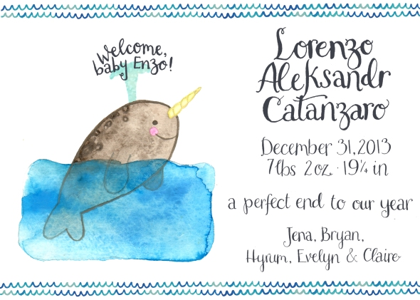 My brother- and sister-in-law had me design 2 baby announcements: this narwhal and the hedgehog below.