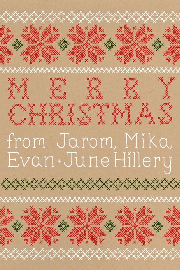 This wasn't my original idea for our 2013 Christmas cards - I hoped to actually screen print a folk design - but I ended up with this cross stitch-inspired card.