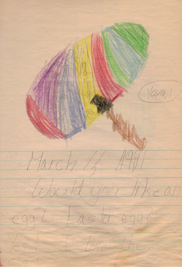 March 11, 1991. Would you like an egg? Easter egg? [teacher] Yes! I love the egg!