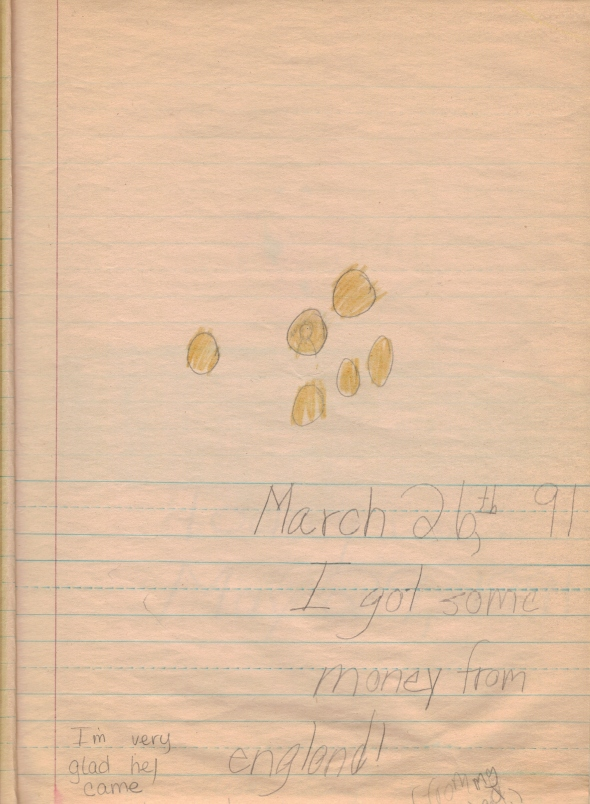 March 26th, '91. I got some money from england! (from my dad) [teacher] I'm very glad he came!
